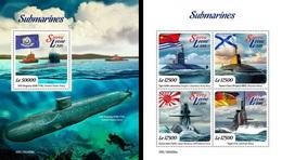 Sierra Leone 2019, Submarines, 4val In BF +BF - Sierra Leone (1961-...)