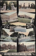 AP49 Greetings From Hampton Court - Multiview Postcard - London Suburbs
