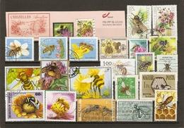 Abeilles - Apiculture - Petit Lot De 23 Timbres° + Fragment D'entier Postal Bpost - Publicité Apiculture - Stamps