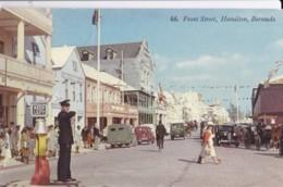 AQ30 Front Street, Hamilton, Bermuda - Animated, Vintage Cars, Policeman - Bermuda