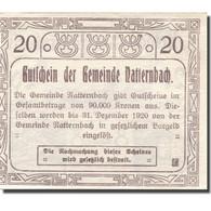 Billet, Autriche, Natternbach, 20 Heller, Eglise 1920-12-31, SPL Mehl:FS 643IIa - Autriche