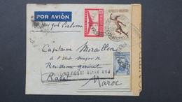 """Argentine Nov. 1940 Pour Rabat Maroc Via New York Et Lisbonne Griffe """" Par Avion Jusqu'en Europe"""" Et Censure - Argentina"""