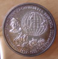 Italie Médaille Argent  500 éme Anniversaire Découverte De L'Amérique 1492-1992 - Professionnels/De Société