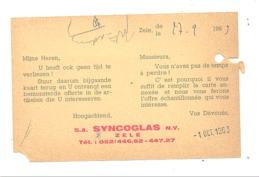 """Carte Pré Imprimée """" SYNCOGLAS """" à ZELE 1963  (van) - Publicité"""