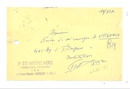 Carte Pré Imprimée - P. DE WISEPELAERE, Binnenhuis Architect  à OOSTKAMP 1967  (van) - Pubblicitari