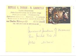 Carte Pré Imprimée - Assurances A. Zinnen - D. Lamboray  à THEUX 1982 (van) - Publicité