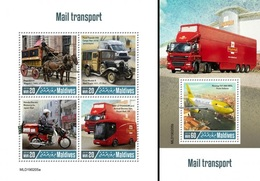 Maldives 2019, Mail Transport, Trucks, 4val In BF +BF - Post