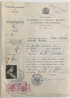 Certificat De Nationalité. Consulat D'Espagne à Nantes. Pasaporte. Passeport. Timbres Fiscaux. Empleada. Femme. Fourrure - Documents Historiques