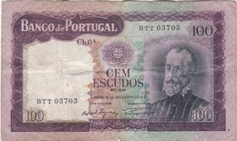 PORTUGAL BANKNOTE - 100$00 - CH 6 A - NUMBER - BTT 03703 - DEZEMBRO 1961 - CIRCULATED - Portugal