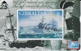 TARJETA DE GIBRALTAR CON UN SELLO DE UN BARCO (STAMP-SHIP) - Boats