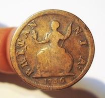 GREAT BRITAIN FARTHING 1736. GRANDE BRETAGNE. ANGLETERRE. - 1662-1816 : Acuñaciones Antiguas Fin XVII° - Inicio XIX° S.