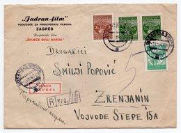 1947 YUGOSLAVIA, CROATIA, JADRAN FILM, ZAGREB, POSTMARK BOSANSKA KRUPA TO ZRENJANIN - 1945-1992 Socialist Federal Republic Of Yugoslavia