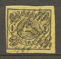 BRUNSW - Yv. N° 7 Mi. N°6  FILIGRANE Wz1 (o) 1s  Noir S Jaune Cote  70 Euro  BE   2 Scans - Braunschweig