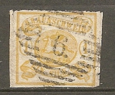 BRUNSW - Yv. N° 11 Mi. N°14A  Percé En Scie FILIGRANE    (o)  1s Jaune   Cote  170 Euro  BE  2 Scans - Braunschweig