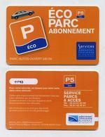 Carte Abonnement Stationnement Parking Aéroport Toulouse Blagnac France - Télécartes