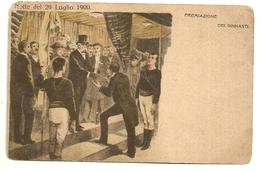 """3901 """"NOTTE DEL 29 LUGLIO 1900-PREMIAZIONE DEI GINNASTI""""CART.POST. ORIG. NON SPED. - Familles Royales"""
