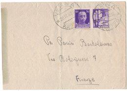 IN178   Regno 1942 Lettera Da Verna Per Firenze 50c Propaganda Di Guerra Isolato - 1900-44 Victor Emmanuel III