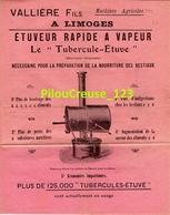 """MACHINES AGRICOLES - LIMOGES - VALLIERE FILS - """"Etuveur Rapide à Vapeur """" - 4 Pages - Dimension 22 X 27 Cm - 4 Scans - Tools"""