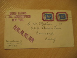 NEW YORK 1952 To Concord USA Postal Administration Verified Nº2 2 Stamp On Cancel Cover United Nations UN - New-York - Siège De L'ONU