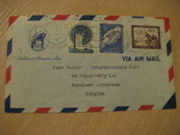 NEW YORK Holland America Line 1957 To Berchem Antwerpen Belgium 3 Stamp On Cancel Air Mail Cover United Nations UN - New-York - Siège De L'ONU