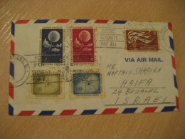 NEW YORK 1958 To Haifa Israel 5 Stamp Meteorology Physics ... On Cancel Air Mail Cover United Nations UN - New-York - Siège De L'ONU