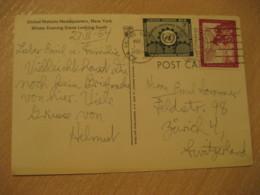 NEW YORK 1954 To Zurich Switzerland 2 Stamp On Headquarters Post Card UNITED NATIONS UN USA - New-York - Siège De L'ONU