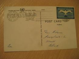 NEW YORK 1955 To Utrecht Netherlands Stamp On Headquarters Post Card UNITED NATIONS UN USA - New-York - Siège De L'ONU