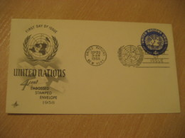 NEW YORK 1958 4c Embossed Stamped Envelope FDC Postal Stationery Cover United Nations UN USA - New-York - Siège De L'ONU
