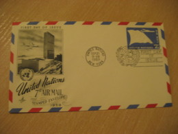 NEW YORK 1959 7c Air Mail Embossed Stamped Envelope FDC Postal Stationery Cover United Nations UN USA - New-York - Siège De L'ONU