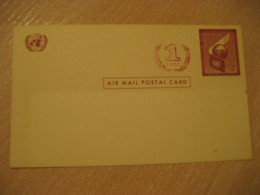 1959 1c Overprinted 4c Air Mail Postal Stationery Card United Nations UN USA - New-York - Siège De L'ONU