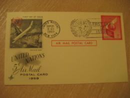 NEW YORK 1959 Convair 880 5c Air Mail FD Postal Stationery Card United Nations UN USA - New-York - Siège De L'ONU