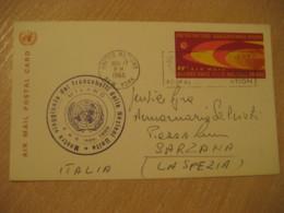 NEW YORK 1966 To Sarzana Italy Milano Cancel Air Mail FD Postal Stationery Card United Nations UN USA - New-York - Siège De L'ONU