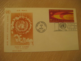 NEW YORK 1966 11c Air Mail FD Postal Stationery Card United Nations UN USA - New-York - Siège De L'ONU