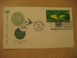 NEW YORK 1968 13c Air Mail FD Postal Stationery Card United Nations UN USA - New-York - Siège De L'ONU