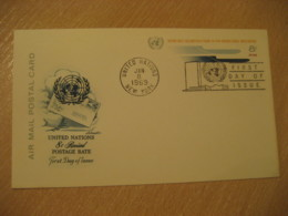 NEW YORK 1969 8c Air Mail FD Postal Stationery Card United Nations UN USA - New-York - Siège De L'ONU