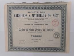 Carrieres Et Materiaux De NECY  1922        ORNE VIGNATS - Actions & Titres