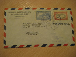 PANAMA 1951 To Montevideo Uruguay 2 Stamp On Cancel Air Mail Cover - Panama