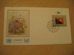 NEW YORK 1984 UNICEF Flag Series Joseph Menchapon Nalo Painting FDC Cancel Cover PAPUA NEW GUINEA United Nations USA - Papua New Guinea