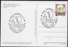 ANNULLO SPECIALE - CREMONA - 07.03.1987 - CELEBRAZIONI STRADIVARIANE - 250° DELLA MORTE SU CARTOLINA - Musica