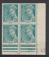 CD 538 FRANCE 1942 COIN DATE 538 : 24 / 1 / 42 TYPE MERCURE PAPIER PLUS JAUNE - Esquina Con Fecha
