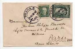- Lettre PRAGUE (Tchécoslovaquie) Pour PARIS 24.3.1930 - Bel Affranchissement Philatélique MASARYK - - Czechoslovakia