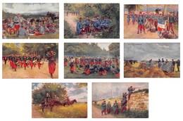 Lot De 8 CPA - Illustration Militaria Grandes Manœuvres Infanterie Zouaves Artillerie Soldats Militaires - Régiments