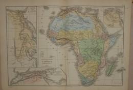 Carte Physique Et Politique De L'Afrique. Egypte.1874. - Carte Geographique