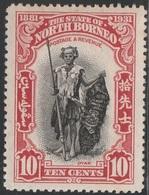 North Borneo 1931 - SG 297, 10cts - DYAK / TRIBEMAN - MLH - North Borneo (...-1963)