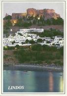 Rodhes (Rodi, Grecia) Lindos, Panorama Notturno Dal Mare, View By Night Seen From The Sea - Grecia