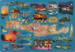 Crete (Creta, Grecia) Views, Vues, Ansicht, Vedute E Cartina Geografica - Grecia