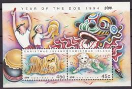 Christmas Island, 1994, 392/93 Block 8, Chinesisches Neujahr: Jahr Des Hundes. MNH ** - Christmas Island