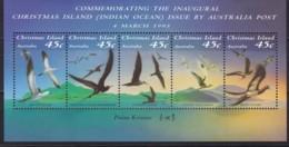 Christmas Island, 1993, 379/83 Block 7, Seevögel. MNH ** - Christmas Island