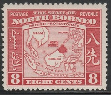 North Borneo 1939 - SG 308, 8cts - MAP OF SOUTH EAST ASIA AND BORNEO - MLH - North Borneo (...-1963)