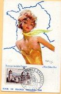 F2405 - Jean Gabriel DOMERGUE - Tour De France CYCLISTE 1956 - LILLE - Tampon Poste - Illustrateurs & Photographes